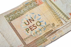 One Cuban peso convertibles,. On white background Stock Photography