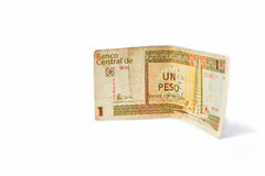 One Cuban peso convertibles, on white background. Isolated Royalty Free Stock Photos
