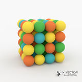 One cube formed by many spheres. 3d vector Royalty Free Stock Images