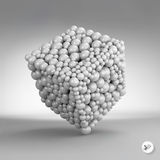 One cube formed by many spheres. 3d vector Stock Photos