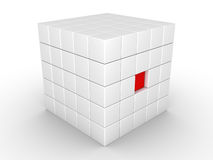 One cube is pressed inwards Stock Image