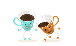 One cup of blue color. The illustration.One cup of blue color with white polka dots and one cup of orange color with white polka dots dance and laugh Royalty Free Stock Image