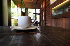 One cup of coffee in coffee shop Royalty Free Stock Image