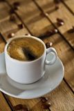 One cup with coffee on table Royalty Free Stock Photos