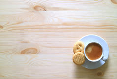 One Cup of Coffee with Two Butter Cookies on the Wooden Table Stock Images