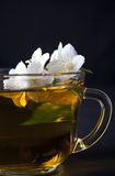 One cup of jasmine tea. On a black background Royalty Free Stock Photography