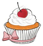 Cupcake with pink ribbon Stock Photography