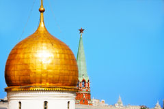 One cupola of Annunciation Cathedral with Kremlin Stock Images