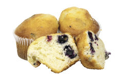 One Cut and Two Whole Blueberry Muffins in Cupcake Stock Photo