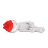 One 3D illustrated figure wearing santa hat Royalty Free Stock Photo