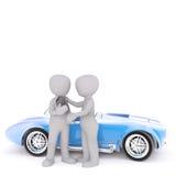One 3D man hands broken parking meter to another. Figure standing beside blue sports car Stock Photos