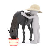One 3D rendered figure pets his black horse. As it eats from a basket against a white background vector illustration