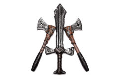One dagger and two axes isolated Royalty Free Stock Photo