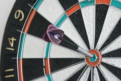 One dart in centre of the dart Stock Photography