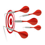 Only one dart hits the target Stock Image