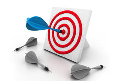 One dart hitting the target. 3d One dart hitting the target royalty free illustration