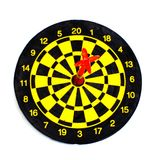 One darts in center of target isolated on white Royalty Free Stock Photography