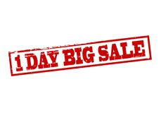 One day big sale. Rubber stamp with text one day big sale inside,  illustration Stock Images