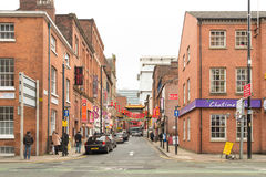 One day in China town  Manchester. The Road to China town in Manchester Royalty Free Stock Photo