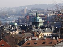 One day day in center of Prague. Bridge/panorama in Prague, picture taken in february 2015 stock image