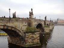 One day day in center of Prague. Charles brigde Prague, picture taken in february 2015 Stock Photo