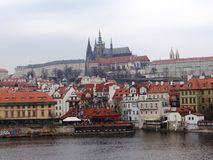 One day day in center of Prague. Panorama old Prague, picture taken in february 2015 Stock Photography