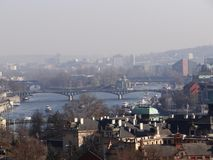 One day day in center of Prague. Panorama Prague, picture taken in february 2015 Royalty Free Stock Photography
