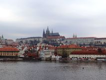 One day day in center of Prague. Panorama Prague, view to Prague Castle, picture taken in february 2015 royalty free stock images