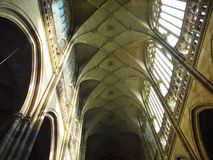 One day day in center of Prague. One view in cathedral Prague Hradcani, picture taken in february 2015 stock images