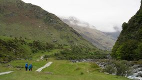 On the way to Rob Roy´s glacier in Mount Aspiring national park, New Zealand stock images