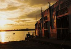 Sunset near the sea on a sad street. One day, I went to a place called Tabasco, here in my country Mexico. I found myself in a very beautiful place, surrounded royalty free stock image