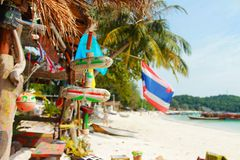 Island vibes on the beach in thailand. One day in paradise koh Lipe in thailand. blue water energy. nice bar on the beach Royalty Free Stock Photos