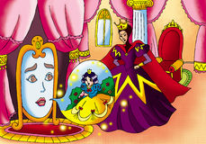 Magic mirror,Snow White and queen Stock Images