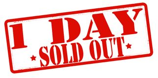 One day sold out. Stamp with text one day sold out inside,  illustration Stock Images