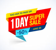 One Day Super Sale banner Royalty Free Stock Photo