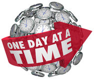 One Day at a Time Clock Sphere Slow Patient Progress Moving Forward vector illustration