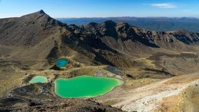 Beautiful emerald lakes in the middle of Tongariro alpine crossing, New Zealand royalty free stock image