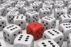 One Die is different. Large Group of uniform Dice with one sticking out in different color and points stock illustration