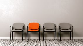 One Different Colored Chair in a Row of Grey. On Wooden Floor Against Grey Wall with Copyspace 3D Illustration stock illustration