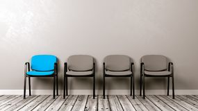 One Different Colored Chair in a Row of Grey stock illustration