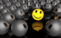 One is different. One yellow smiley is smiling in a crowd of unhappy smileys, 3D rendering vector illustration