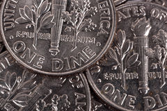 One dime coins Stock Photography