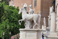 One of the Dioscuri, on Cordonata del Campidoglio, in Rome. Stock Image