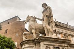 One of the Dioscuri knights. Piazza del Campidoglio. Rome Stock Photos
