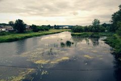 In one distant russian village. River in one distant russian village royalty free stock images