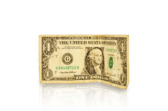 One dollar. One old paper dollar close-up isolated on white background Stock Photo