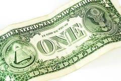 One dollar. Close up of one dollar on white background stock image