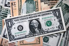 One Dollar between another. One Dollar of the United States Of America between another federal reserve notes Stock Image