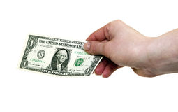 One dollar. 1 dollar banknote in woman's hand with clipping path Stock Photography