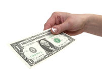 One dollar. 1 dollar banknote in woman's hand with clipping path Royalty Free Stock Image